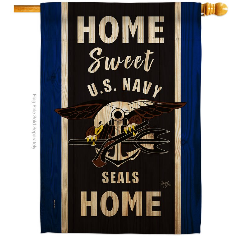 Breeze Decor Home Sweet Us Navy 2 Sided Polyester 40 X 28 In House Flag Wayfair