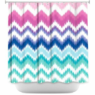 Hanlin Ombre Ikat Chevron Single Shower Curtain