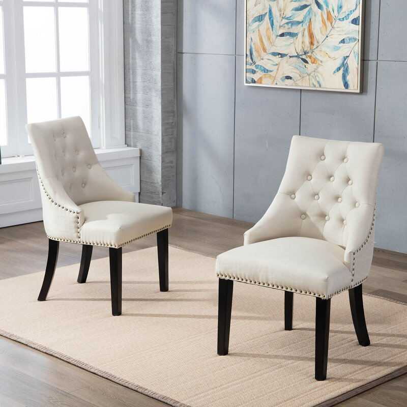 Gracie Oaks Hopkint Tufted Upholstered Parsons Chair (Set of 2)