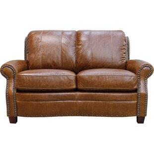 Alcott Hill Halliburton Leather Loveseat