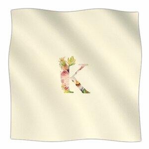 Floral Monogram Fleece Throw