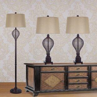 Fangio Lighting 3 Piece Table and Floor Lamp Set