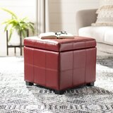 Maiden 18.3 Wide Faux Leather Tufted Square Ottoman with Storage by Safavieh