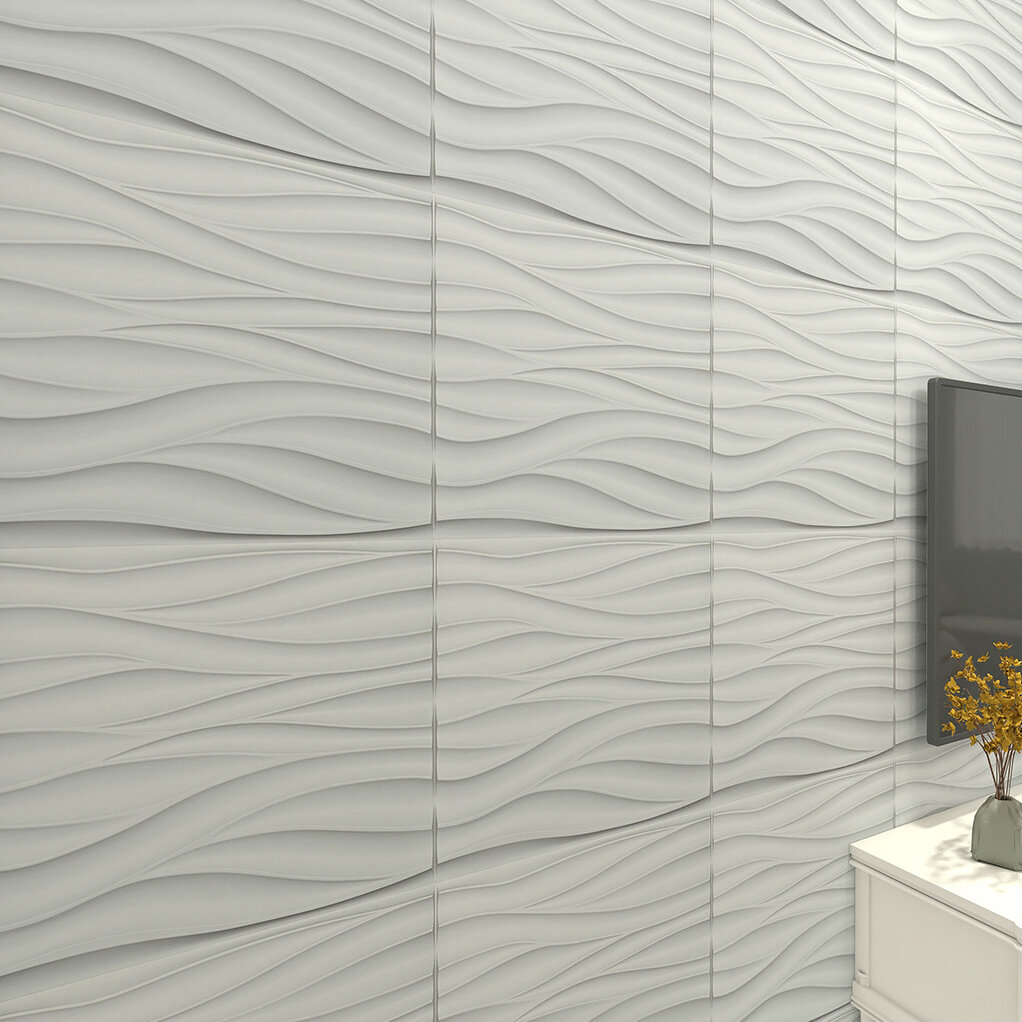 Art3d 19 7 X 19 7 Vinyl Wall Paneling In Matte White Wayfair
