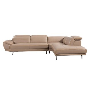 Cana Leather Sectional with Ottoman by Orren Ellis