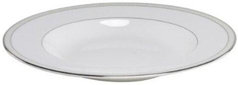 Platinum Beaded Pearl Rim Soup Pasta Bowl