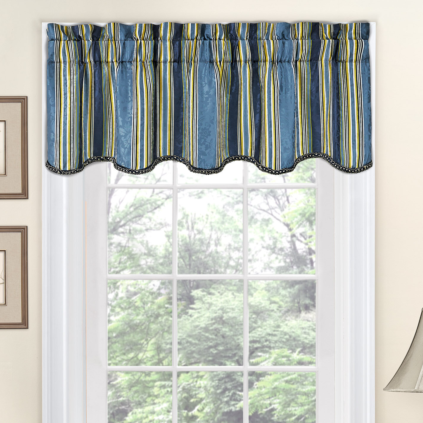Stripe Ensemble Scalloped 52 Curtain Valance