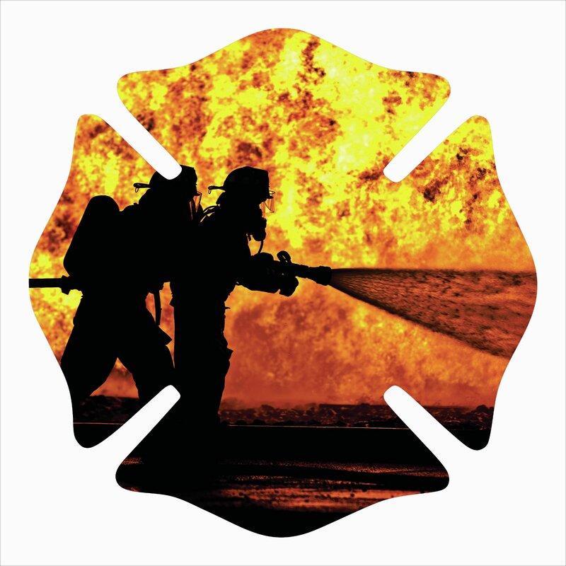 Firefighter Badge Silhouette Metal Laser Cut Wall Décor