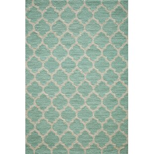 Frank Hand-Hooked Sky Blue Area Rug by House of Hampton