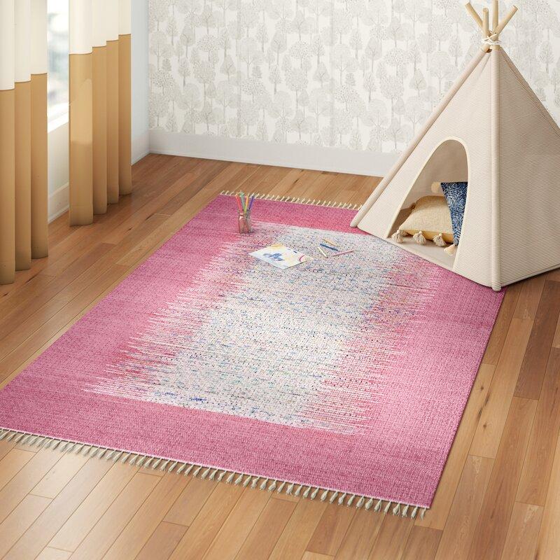 Three Posts Baby Kids Eberhardt Handmade Flatweave Cotton Ivory Pink Area Rug Reviews Wayfair