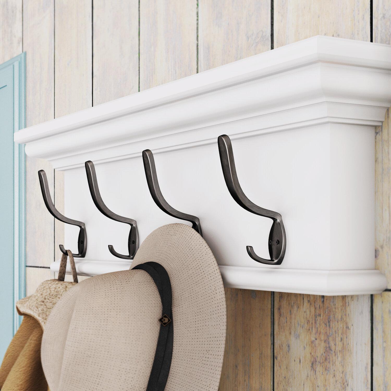 "32/"" Wall Mount Entryway Storage Wood Rack Coat /& Hat Hanger 6 Pegs Natural Wood"