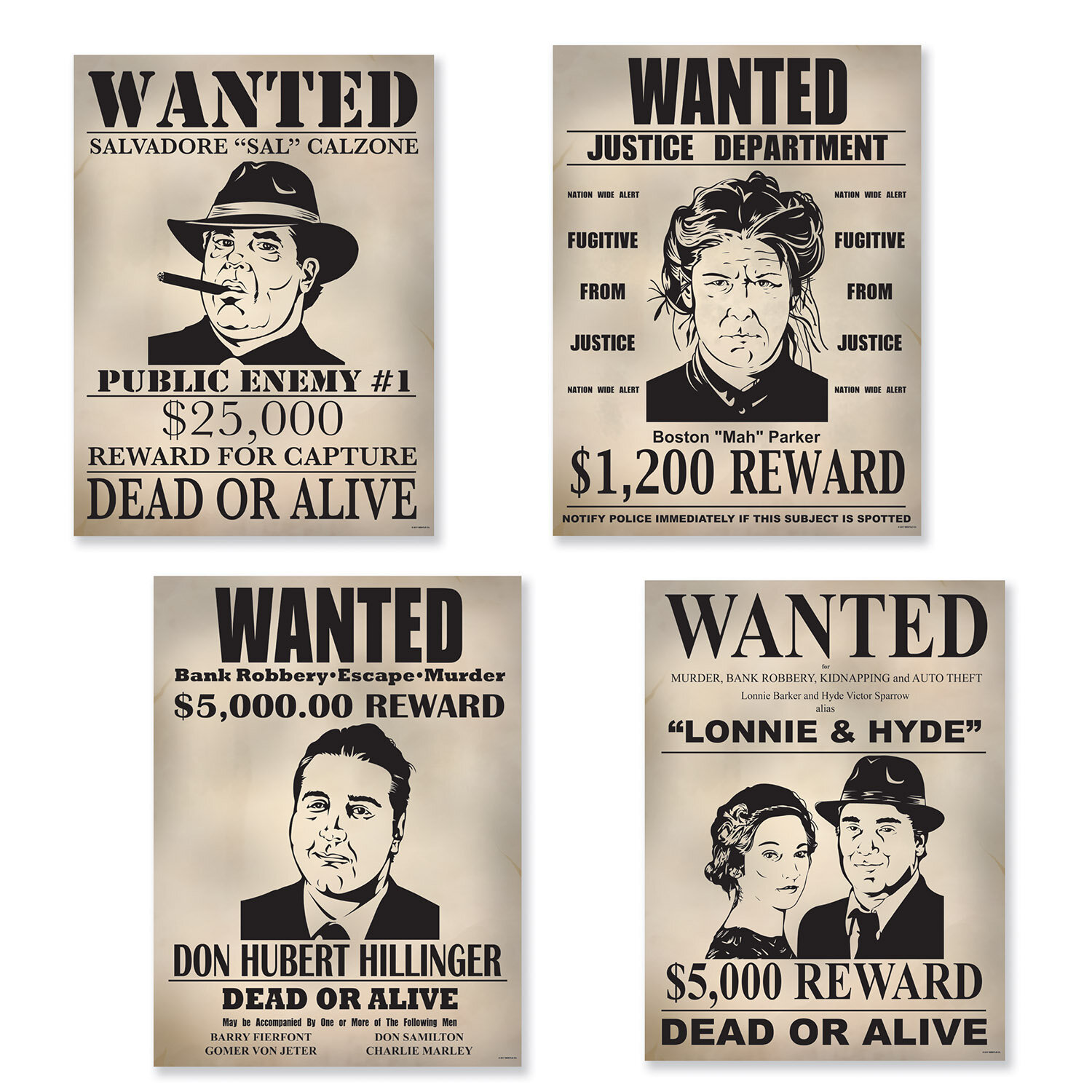 1eb700432ad17 The Beistle Company 4 Piece Gangster Wanted Sign Cutout Set
