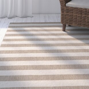 Palm Cove Wheat Beige Striped Indoor/Outdoor Area Rug