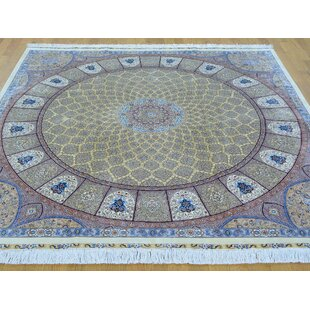 One-of-a-Kind Bollinger Tabriz Gumbad Signed Handwoven Yellow Silk Area Rug ByIsabelline