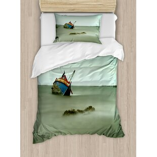 Ocean Old Photo of Decadent Derelict Fishing Boat Bow in Thailand Day Lights Sunrise Duvet Set by Ambesonne