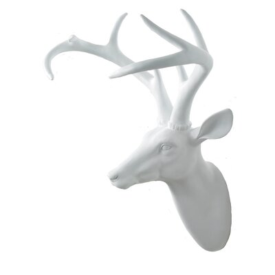 Arthouse Stags Head Wall Decor Finish White
