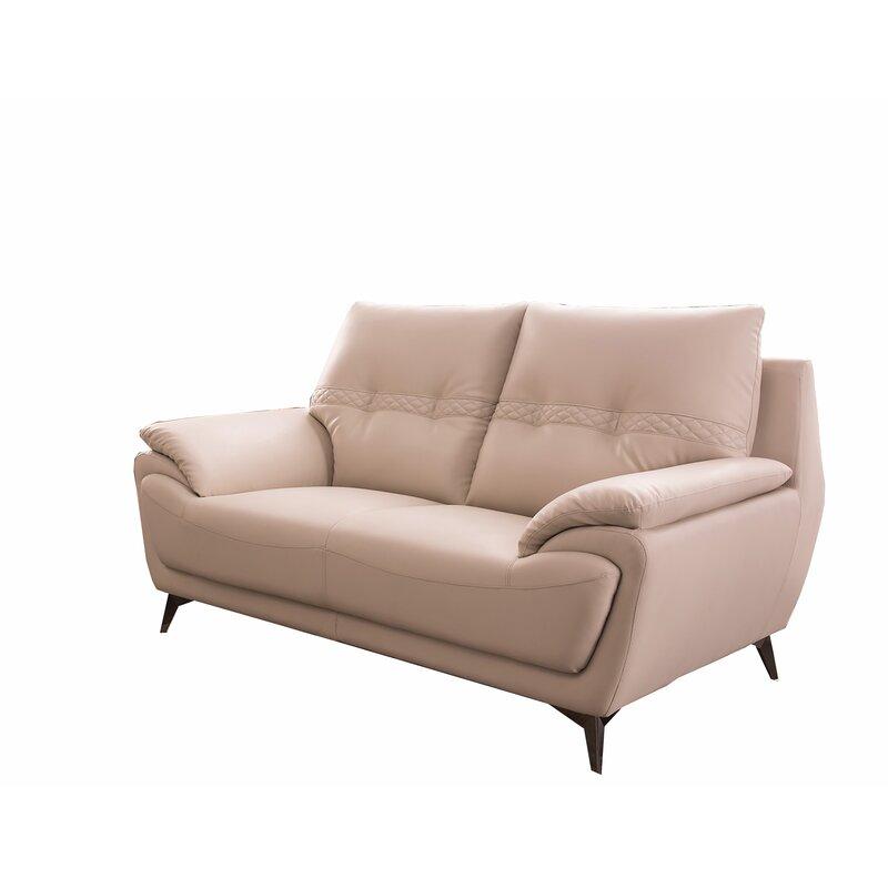 Orren Ellis Hillendale Faux Leather 67 Wide Pillow Top Arm Loveseat Wayfair