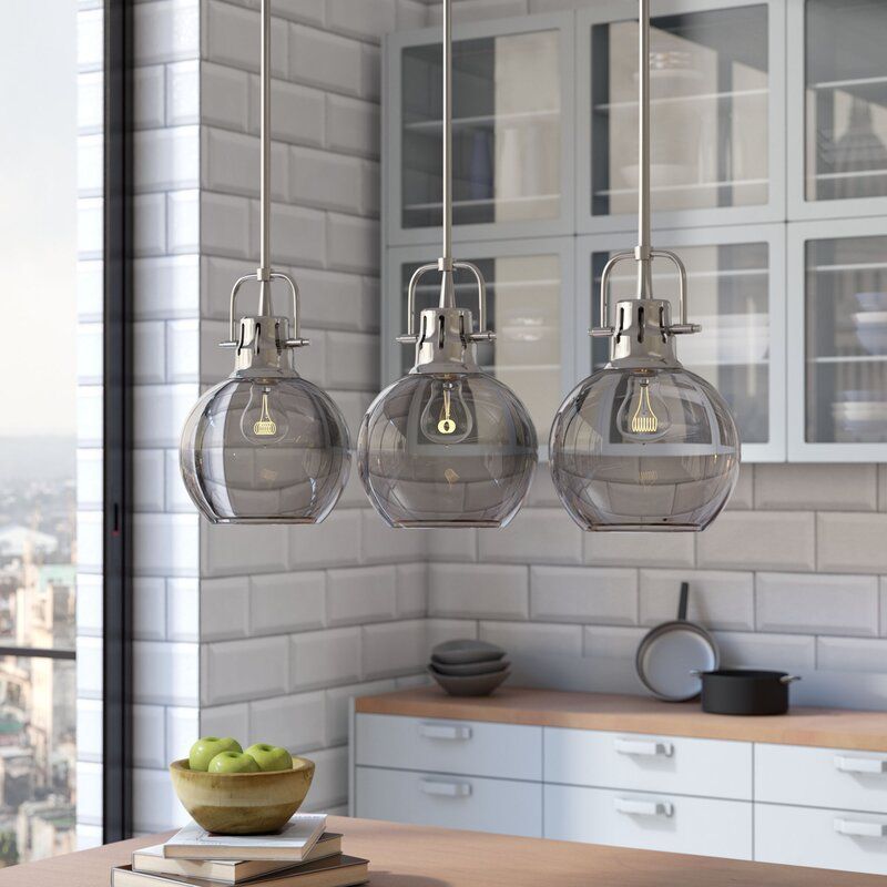 Brayden Studio Burner Light Kitchen Island Pendant Reviews Wayfair - Three light pendant kitchen
