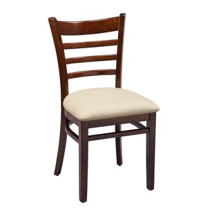 Amoroso Beechwood Ladder Back Seat Upholstered Dining Chair Red Barrel Studio