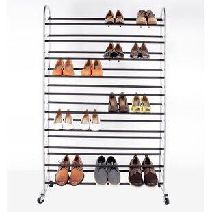Sturdy Rolling 10-Tier 50 Pair Shoe Rack StorageManiac