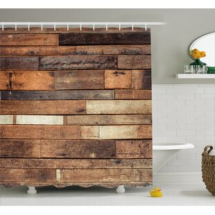Wooden Brown Rustic Floor Look Single Shower Curtain