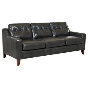 Orleans Tufted Leather Sofa by Klaussner Fur..