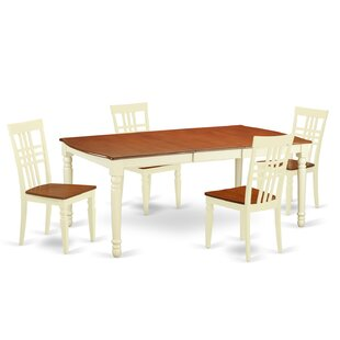 Paraiso 5 Piece Extendable Solid Wood Dining Set August Grove