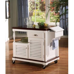 Libby Top Storage Kitchen Cart Granite Top Alcott Hill