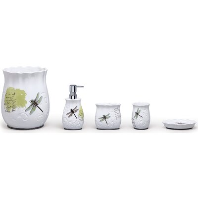Dragonfly Ceramic 4 Piece Bathroom Accessory Set