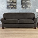 Vintage Leather Furniture Stretch Box Cushion Sofa Slipcover by Sure Fit