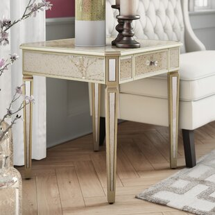 Mirrored End Table with Storage