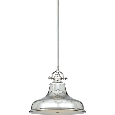 Beachcrest Home Mueller 1-Light Cone Pendant Size: Large, Finish: Imperial Silver