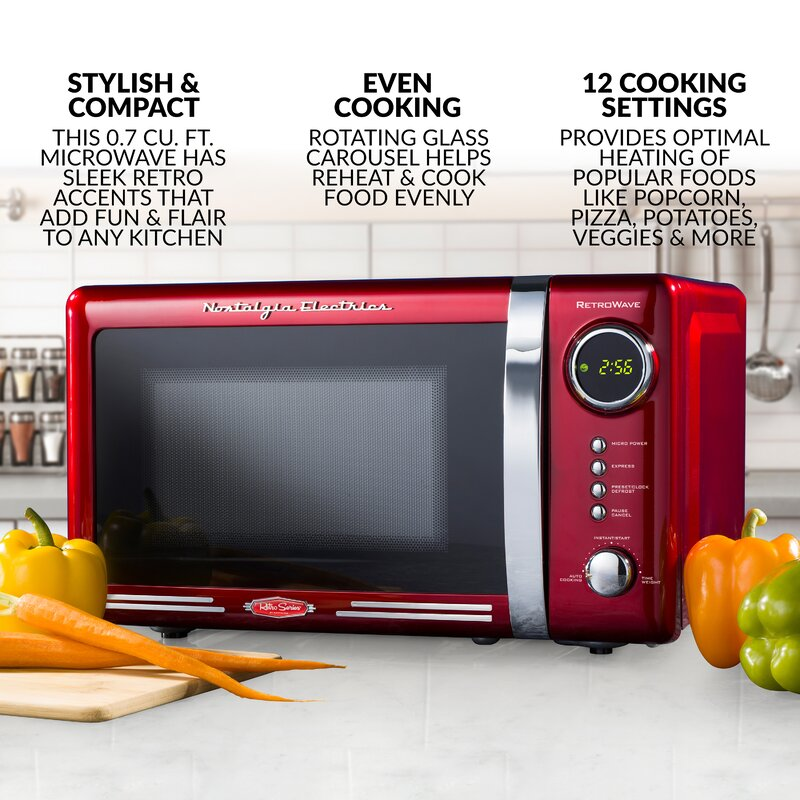 Nostalgia Electrics Nostalgia Retro 0 7 Cubic Foot 700 Watt Countertop Microwave Oven Retro Red Reviews Wayfair
