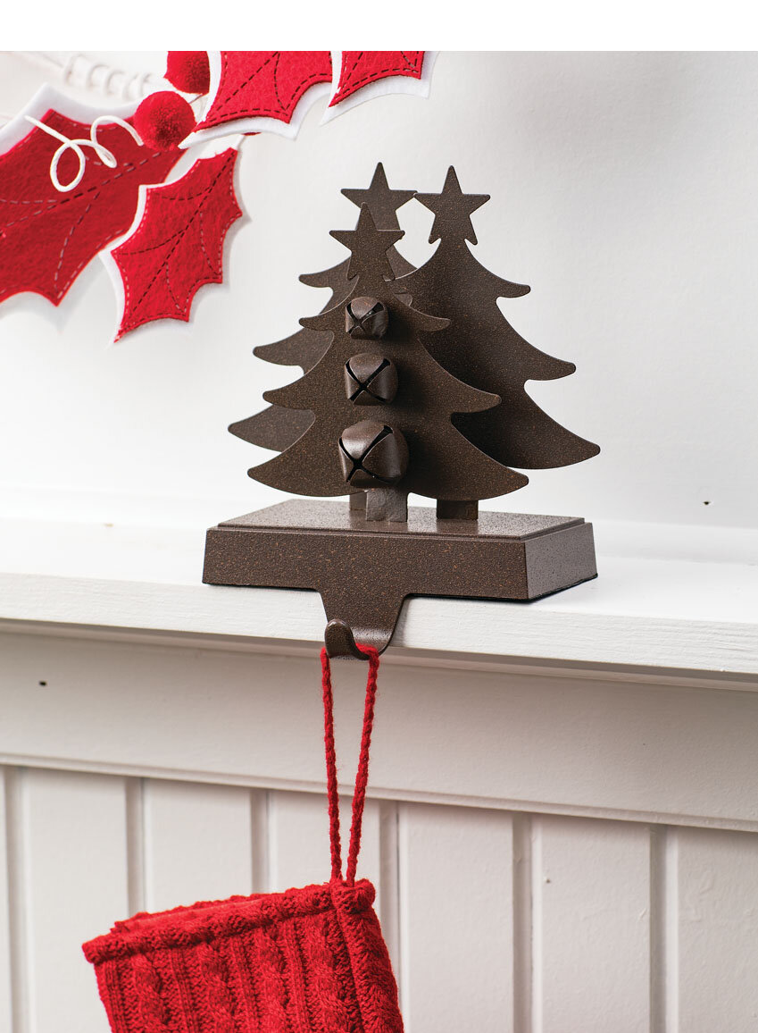 Christmas Tree Stocking Holder.Mireille Tree With Bell Stocking Holder