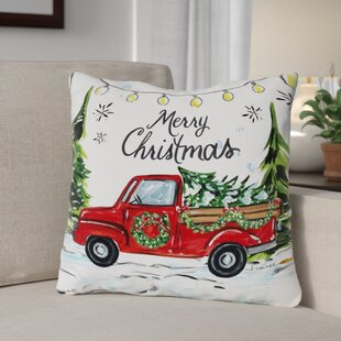 Merry Christmas Tree Farm Throw Pillow
