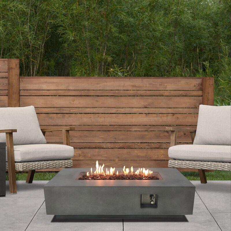 17 Stories Regnhild Concrete Propane Fire Pit Table Wayfair