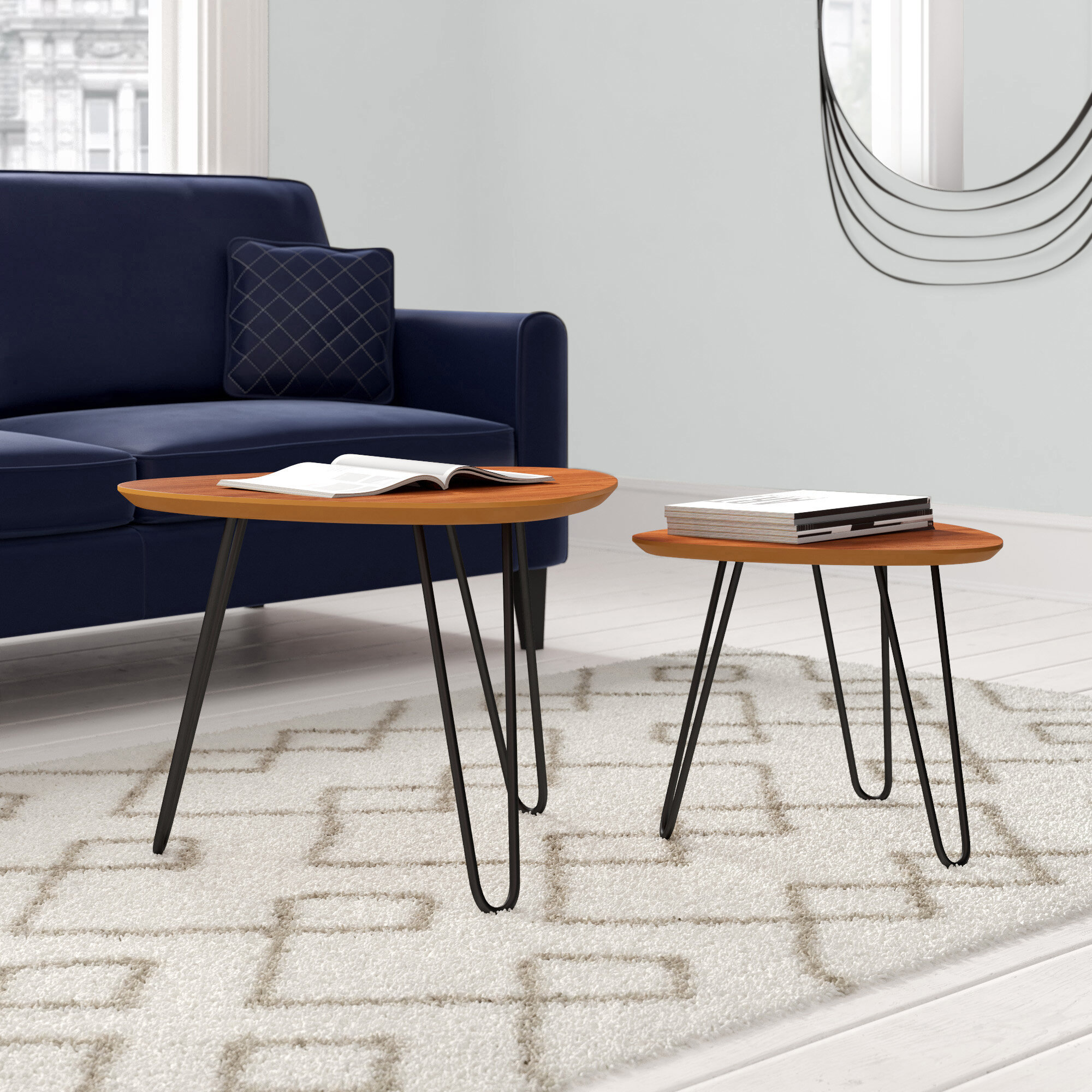 Cool Labarge Hairpin Leg Wood 2 Piece Coffee Table Set Pabps2019 Chair Design Images Pabps2019Com