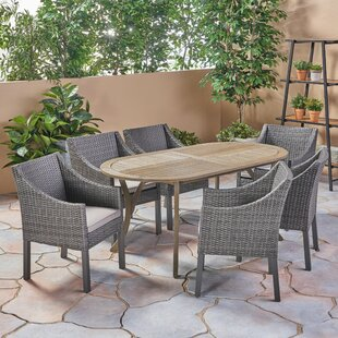 Bungalow Rose West Adams Outdoor 7 Piece Dining Set with Cushions