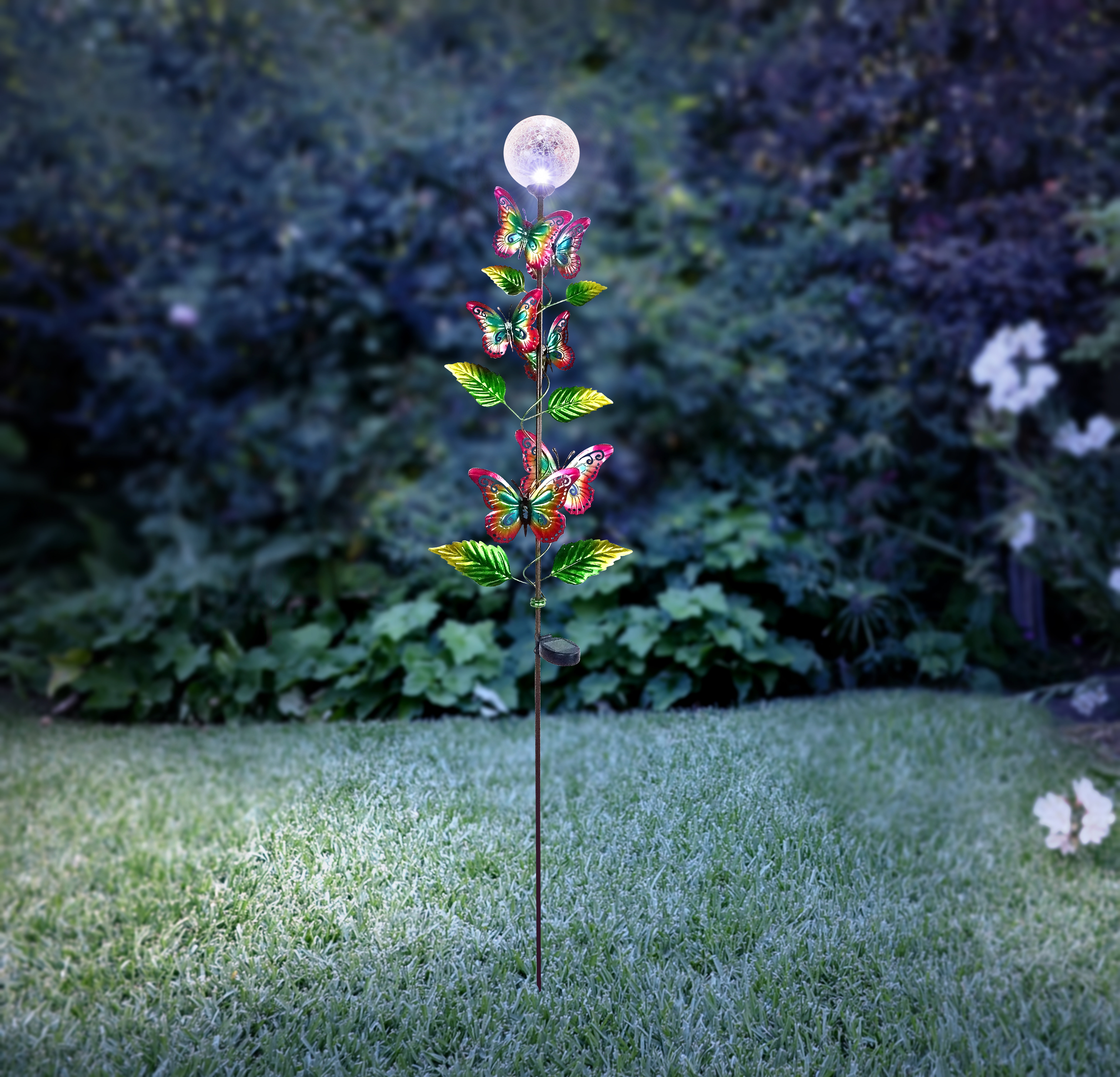 Blue Butterfly Wire /& Glass Garden Border Stake