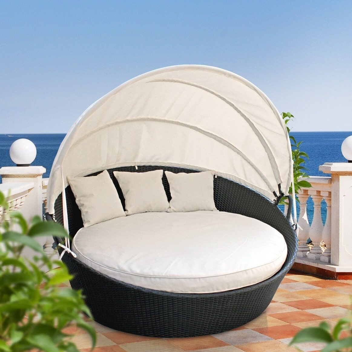 Brayden Studio Holden Canopy Outdoor Patio Daybed With Cushions Reviews Wayfair