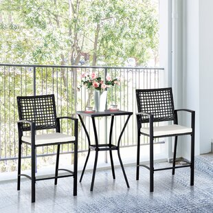Gracie Oaks Eleanor Outdoor 3 Piece Bistro Set with Cushions