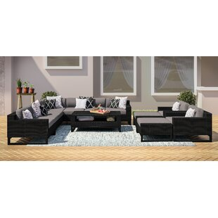 Stivers Rattan 12 Piece Sectional Seating Group with Cushions