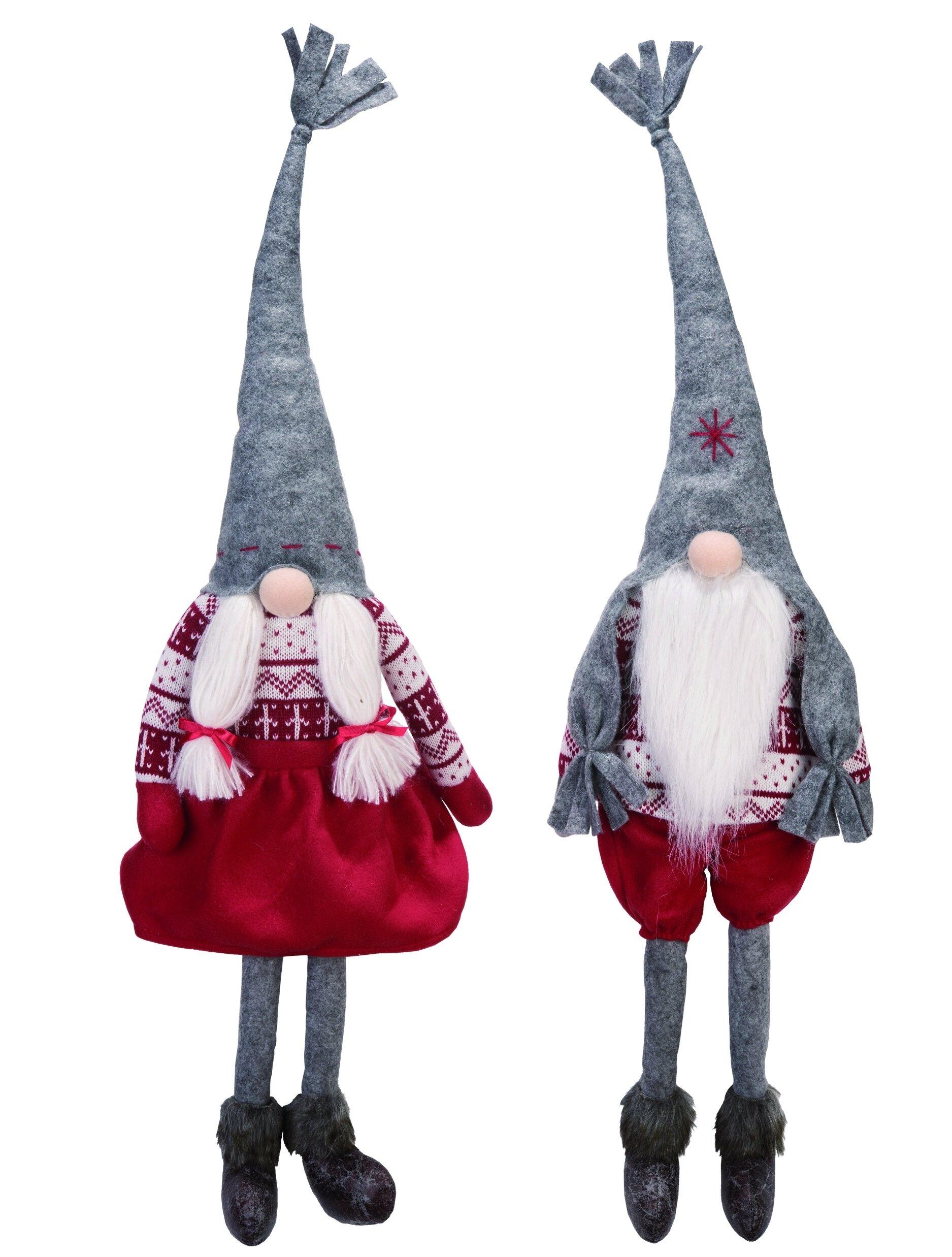 The Holiday Aisle 2 Piece Fabric Christmas Plush Gnome Shelf Sitter Set Wayfair