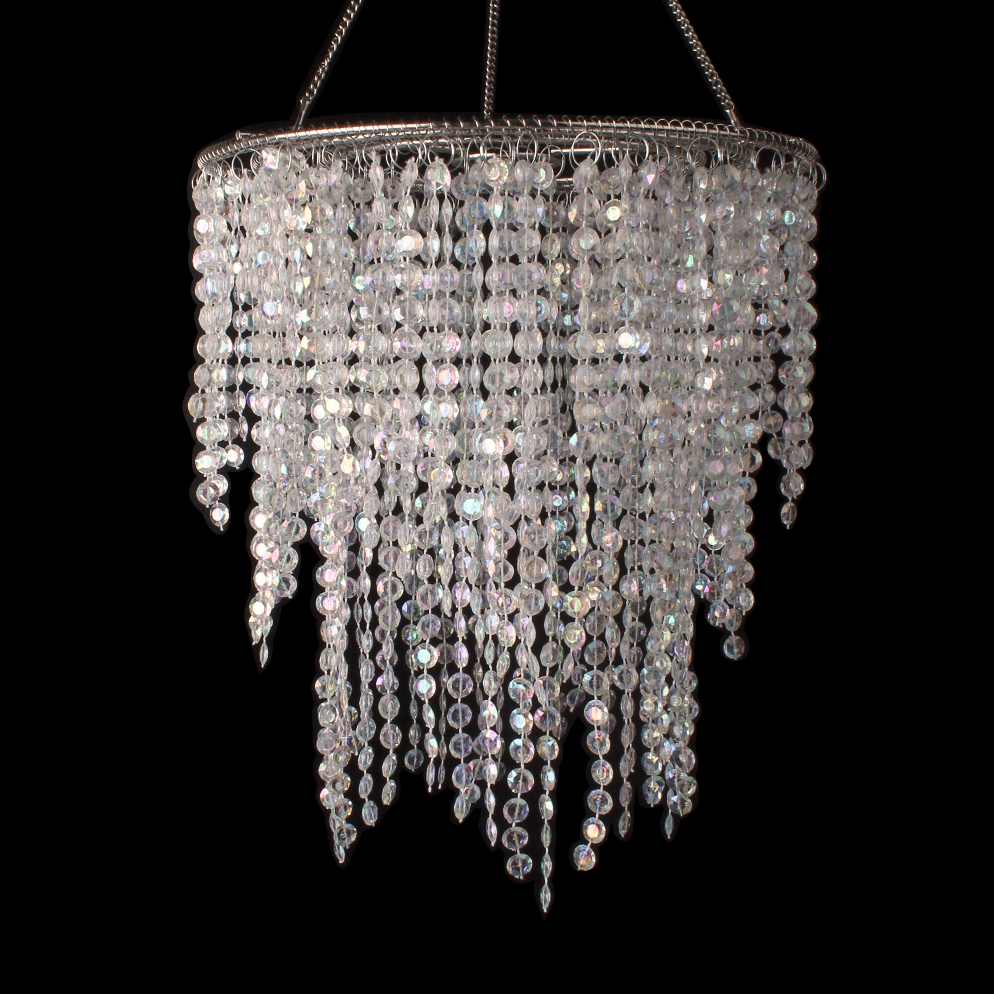 Bingen 3 layered crystal iridescent diamond cut crystal chandelier
