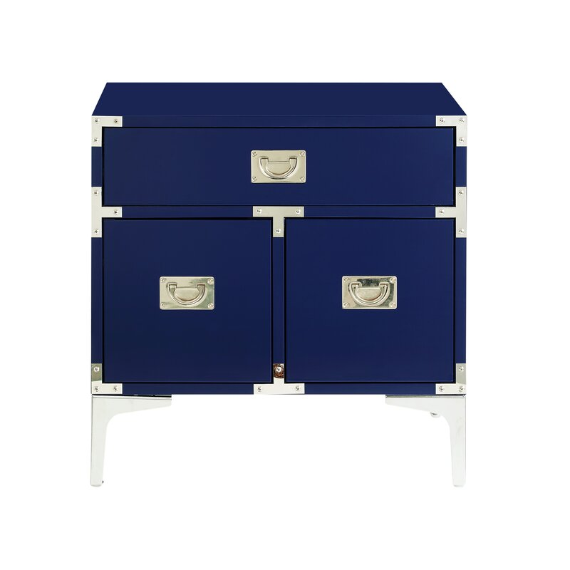 17 Stories  Marcelo 1 Drawer Nightstand Color: Navy Blue