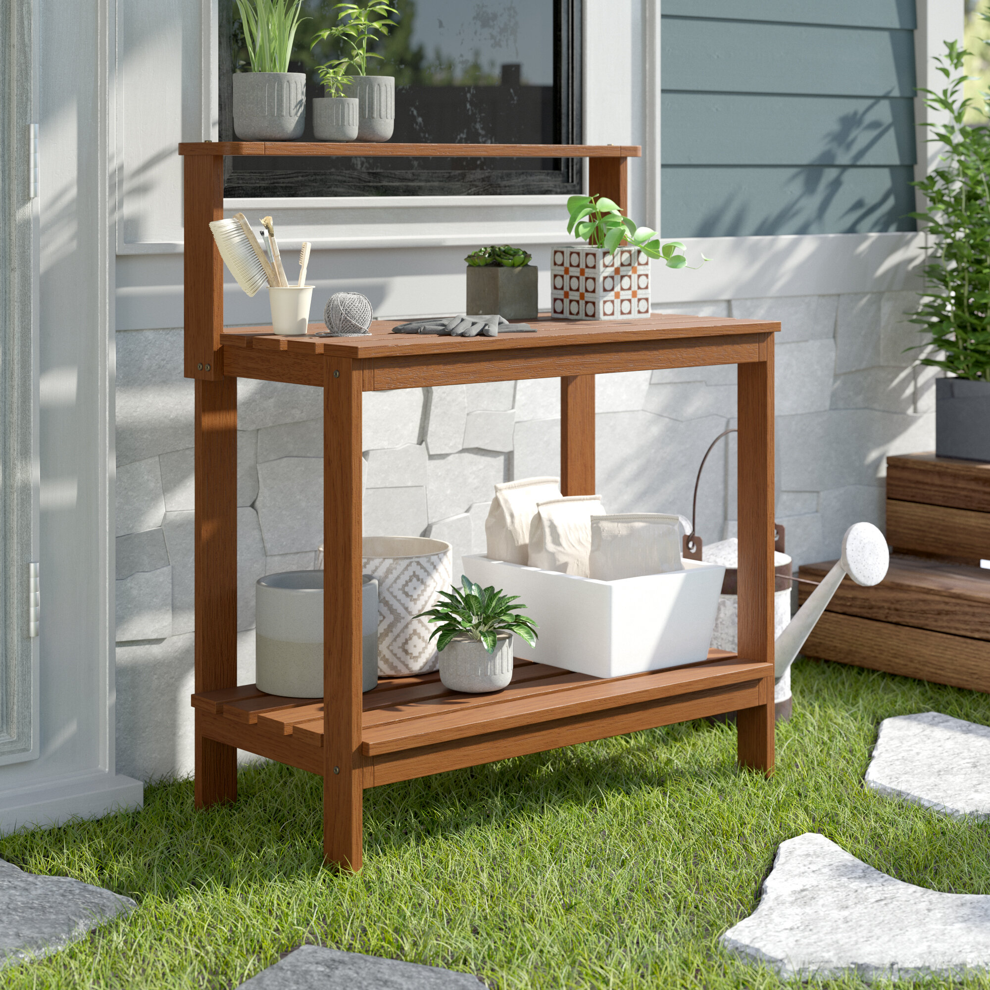 Sol 72 Outdoor Aanya Hardwood Dark Red Meranti Potting Bench Reviews Wayfair