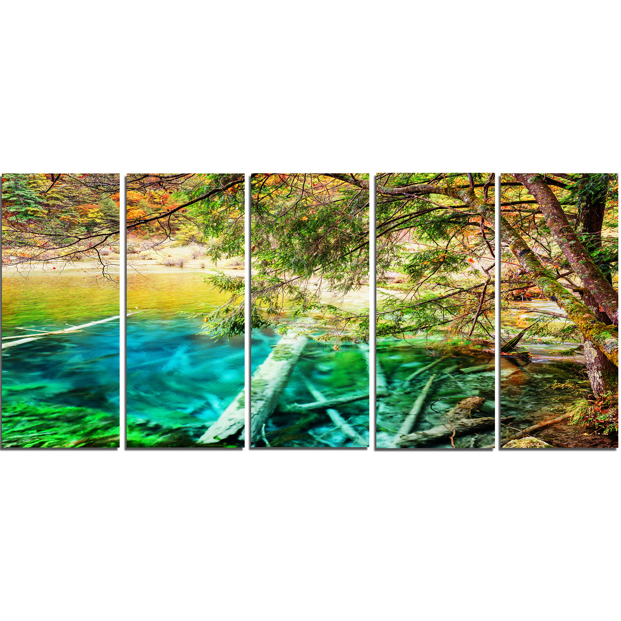 Designart Colorful Lake With Tree Trunks 5 Piece Graphic Art On Wrapped Canvas Set Wayfair