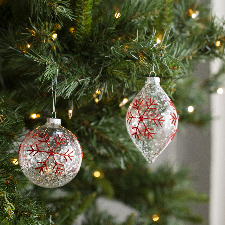 Mercury Row 2 Piece Snowflake Ball Ornament Set Wayfair