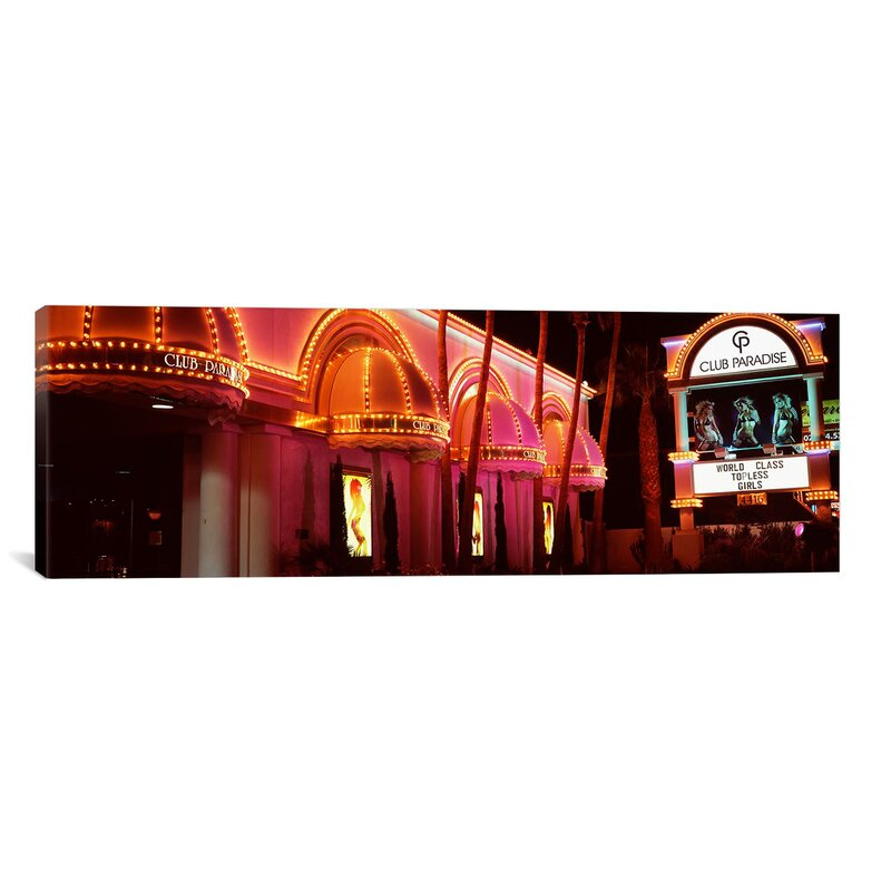 Ebern Designs Panoramic Strip Club Lit Up At Night Las Vegas Nevada Usa Wrapped Canvas Photographic Print Wayfair