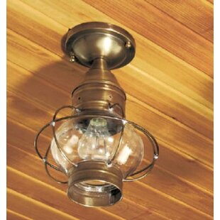 Buy clear 600 Series 1-Light Outdoor Semi Flush Mount By Brass Traditions